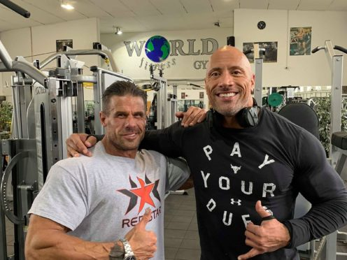 Craie Carrera (left) and Dwayne Johnson also known as The Rock inside World Fitness Gym in Doncaster