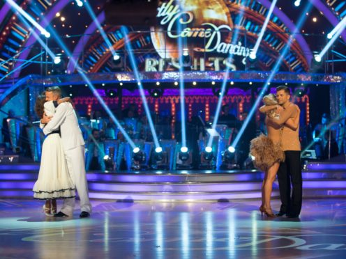 Oti Mabuse, Graeme Swann, Ashley Roberts and Pasha Kovalev after hearing their fate in the results show for Strictly Come Dancing (Guy Levy/BBC)