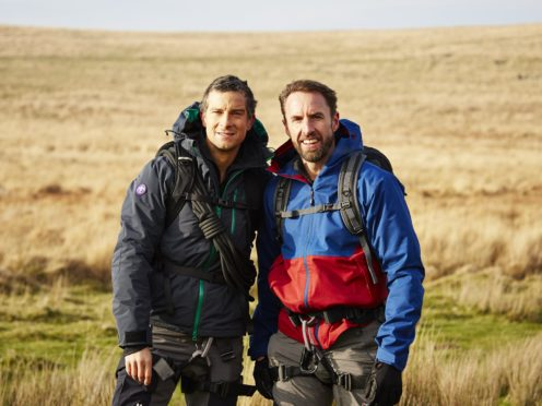 Bear Grylls and Gareth Southgate on their trek. (Betty/ITV)