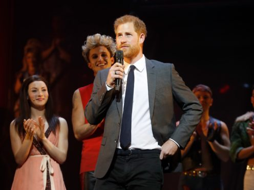 The Duke Of Sussex addresses the audience alongside the show's producer and cast members ahead of a gala performance of Bat Out Of Hell – The Musical, in support of the Invictus Games Foundation at Dominion Theatre, London (Chris Jackson/PA)