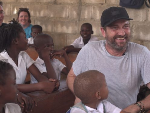 Gerard Butler delivered some acting tips to school children in Haiti (Mary's Meals/PA)