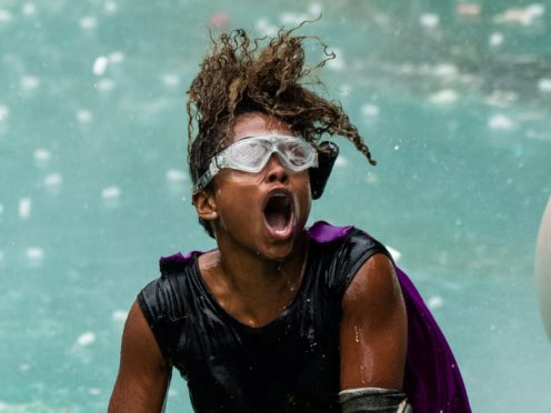 Fleur East during the Celebrity Cyclone. (James Gourley/ITV/REX/Shutterstock)