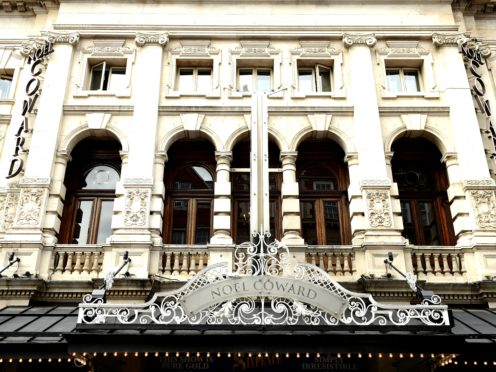 The Noel Coward Theatre in London which will tonight dim its lights in memory of Duncan C Weldon (Ian West/PA)
