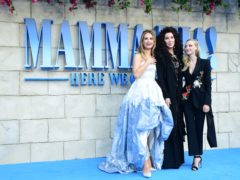 Lily James, Cher and Amanda Seyfried at the premiere of Mamma Mia! Here We Go Again! (Ian West/PA)
