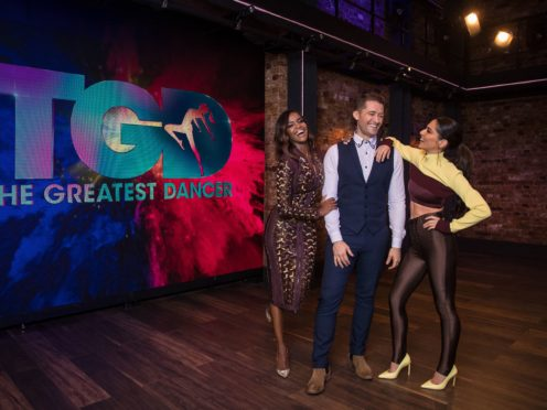 Oti Mabuse, Matthew Morrison and Cheryl,who appeared on the show while fans waited to enter the venue (Syco/Thames/Tom Dymond)