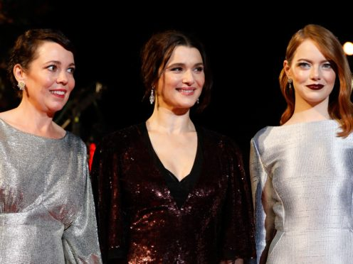 Olivia Colman, Rachel Weisz and Emma Stone (PA)
