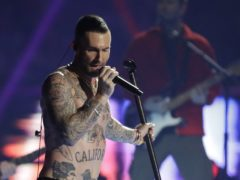 Adam Levine of Maroon 5 during their Super Bowl half-time performance (AP Photo/Jeff Roberson)