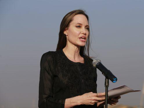 Hollywood actress Angelina Jolie addresses a press conference at Kutupalong refugee camp in Cox's Bazar, Bangladesh (AP)