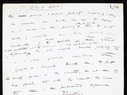 A page from the handwritten draft from Charles Darwin's revolutionary On The Origin Of Species (DCMS/PA)