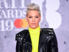 Pink attending the Brit Awards 2019 at the O2 Arena, London (Ian West/PA)