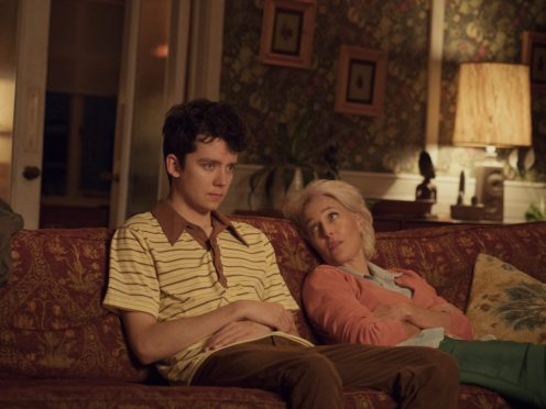 Asa Butterfield and Gillian Anderson in Sex Education (Netflix)