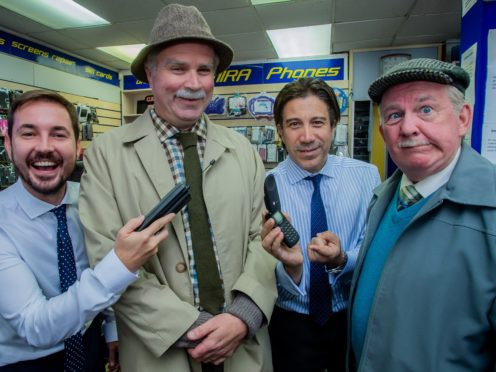 Martin Compston with Greg Hemphill (Victor), Gianni Capaldi (phone salesman) and Ford Kiernan (Jack) (Alan Peebles/BBC/PA)