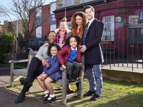 The Atkins family, pictured with Karen Taylor and Mitch Baker, will arrive in Albert Square later this month (EastEnders/BBC/PA)