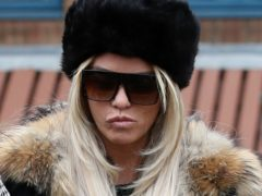 Katie Price arrives at Crawley Magistrates' Court to enter a plea to the allegations against her (Steve Parsons/PA)