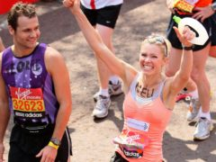 Nell McAndrew after finishing the 2011 Virgin Money London Marathon (Dominic Lipinski/PA)