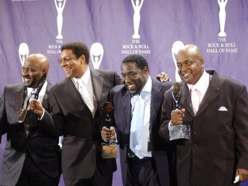 A modern line-up of The O'Jays after their induction into the Hall of Fame (Rich Lee/PA)