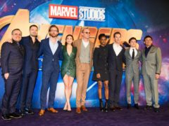 Directors and cast of Avengers: Infinity War – left to right, Joe Russo, Sebastian Stan, Tom Hiddleston, Elizabeth Olsen, Paul Bettany, Letitia Wright, Benedict Cumberbatch, Tom Holland and Anthony Russo. (PA)
