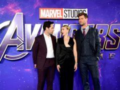 Paul Rudd (left), Scarlett Johansson and Chris Hemsworth attending the Avengers: Endgame fan event held at Picturehouse Central, London (Ian West/PA)