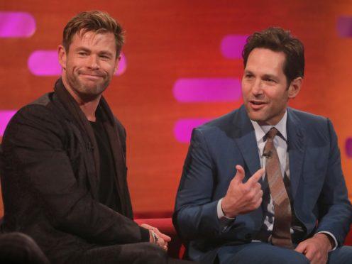 Chris Hemsworth and Paul Rudd on the Graham Norton Show (Isabel Infantes/PA)