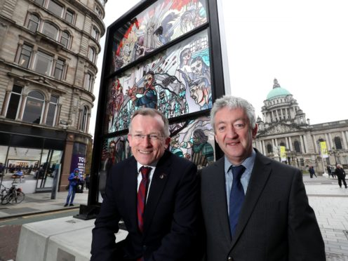 A giant stained glass Game Of Thrones window was unveiled opposite the main entrance to Belfast City Hall (Tourism Ireland/PA)