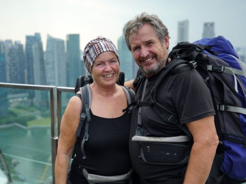 Tony and Elaine triumphed in Race Across The World (BBC/PA)