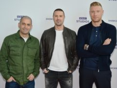 "Paddy McGuinness with fellow Top Gear presenters Chris Harris and Andrew ""Freddie"" Flintoff (Rob Cable/BBC/PA)"