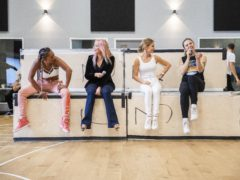 Spice Girls Melanie Brown, Emma Bunton, Geri Horner and Melanie Chisholm during their first full rehearsal ahead of their reunion tour. (Andrew Timms/PA)