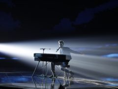 Duncan Laurence of the Netherlands performs during the 2019 Eurovision Song Contest second semi-final in Tel Aviv (Sebastian Scheiner/AP)