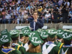 Matthew McConaughey delivers the commencement speech (Les Hassell/The News-Journal via AP)