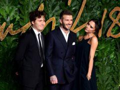 Brooklyn, David and Victoria Beckham (Ian West/PA)