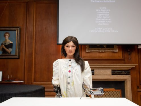 Ai-Da, created by Aidan Meller, has been unveiled as the world's first robot artist (Jacob King/PA)