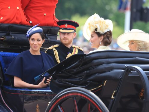 The Duke and Duchess of Sussex with the Duchess of Cambridge and the Duchess of Cornwall (Gareth Fuller/PA)