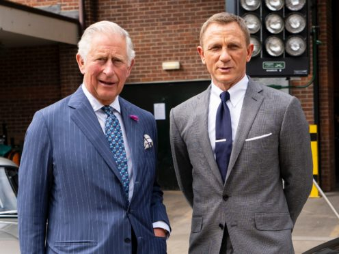 The Prince of Wales with actor Daniel Craig during a visit to the set (Niklas Halle'n/PA)