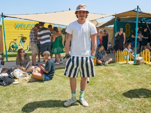 Undated handout photo issued by EE of Brooklyn Beckham inside the EE VIP section at this weekend's Glastonbury Festival at Worthy Farm in Somerset.