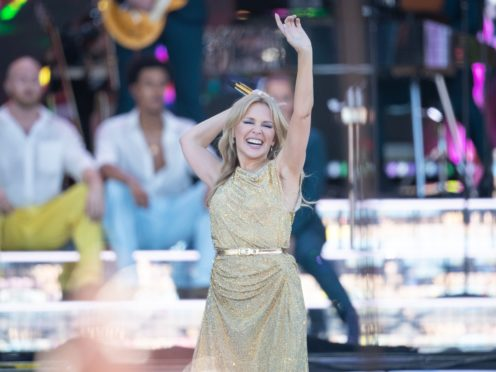 Kylie Minogue performing on the Pyramid Stage on the fifth day of the Glastonbury Festival (Aaron Chown/PA)