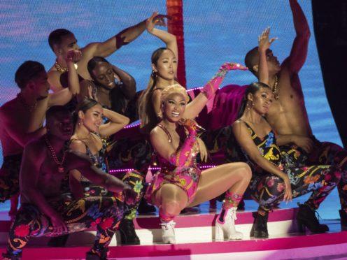 Singer Nicki Minaj performing at the European MTV Awards in Bilbao, Spain (Vianney Le Caer/AP)