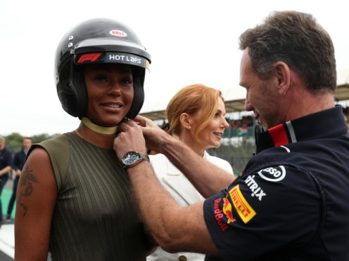 Christian Horner and Mel B at Silverstone (Bradley Collyer/PA)