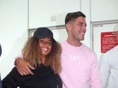 Love Island winners Amber and Greg touch down in London with co-stars (Yui Mok/PA)