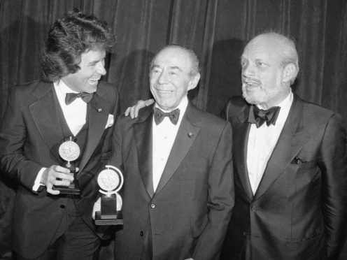 Jack Hofsiss, left, and Hal Prince, right, flank Richard Rodgers at the 1979 Tony Award presentations (Richard Drew/AP)
