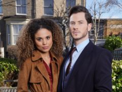 EastEnders couple Gray Atkins (Toby-Alexander Smith) and his wife Chantelle (Jessica Plummer) (Kieron McCarron/BBC/PA)