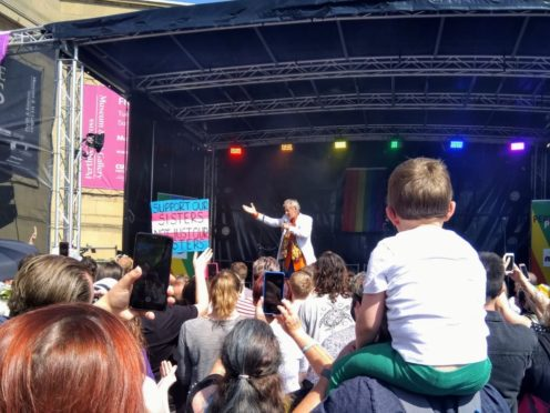 Sir Ian McKellen addressed the Perthshire Pride crowd (Anna Zwagerman/PA)