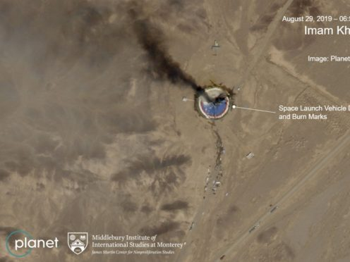 Annotated satellite image showing a fire at a rocket launch pad at the Imam Khomeini Space Centre in Iran's Semnan province (Planet Labs Inc, Middlebury Institute of International Studies via AP)