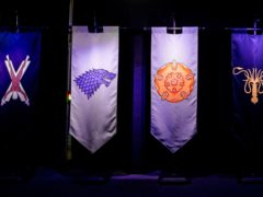 Banners carrying the sigils of House Bolton, House Stark, House Tyrell, House Greyjoy, House Martell, and House Arryn. (Liam McBurney/PA)