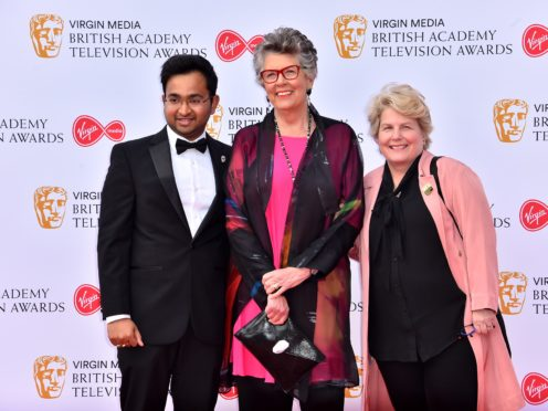 Rahul Mandal, Prue Leith and Sandi Toksvig attending the Virgin Media Bafta TV awards, held at the Royal Festival Hall in London (Matt Crossick/PA)