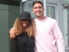 Love Island winners Amber Gill and Greg O'Shea at Stansted Airport (Yui Mok/PA)