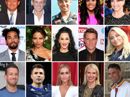 File photos of (top row) Mike Bushell, Jamie Laing, Karim Zeroual, Alex Scott, Emma Barton, (middle) Dev Griffin, Emma Thynn Viscountess Weymouth, Michelle Visage, James Cracknell, Saffron Barker, Chris Ramsey, Will Bayley, Catherine Tyldesley, Anneka Rice and David James, who are this year's contestants on Strictly Come Dancing (PA/BBC)