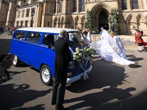 Ellie Goulding arrives at York Minster in a VW campervan (Peter Byrne/PA)