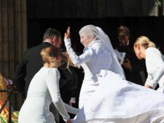 Newly married Ellie Goulding and Caspar Joplin leave York Minster (Peter Byrne/PA)