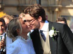 Newly married Ellie Goulding and Caspar Jopling leave York Minster after their wedding (Peter Byrne/PA)