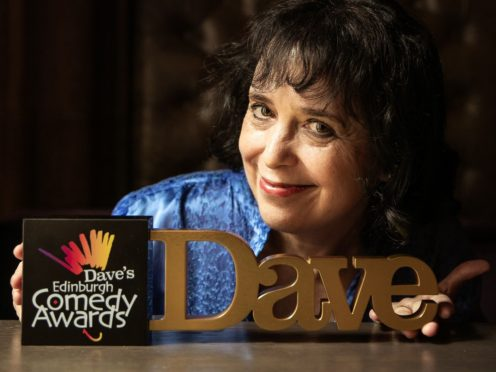 Dave's Edinburgh Comedy Awards director Nica Burns with the trophies (DECA/PA)